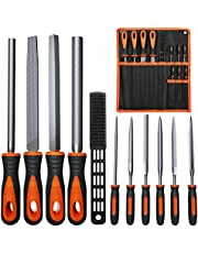 E·Durable Metal File Set T12 Drop Forged Alloy Steel File Set 4PCS Flat/Triangle/Half-Round/Round Large File and 6PCS Needle File File Wire Brush with Portable Bag for Wood, Metal File Work, Shaping Tool