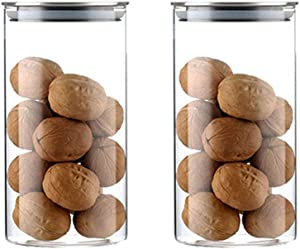 Glass Food Jars Airtight Smofax Glass Canisters Storage Jar for Kitchen 2pcs Cereal Pantry Containers with Lids 25oz (25oz-8.5x15cm