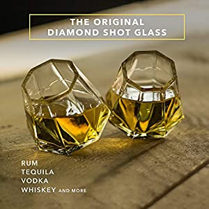 Dragon Glassware Diamond Shot Glasses, 2-Ounce, Set of 8