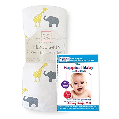 SwaddleDesigns Marquisette Swaddle and The Happiest Baby on the Block DVD Bundle, Safari Fun, Yellow