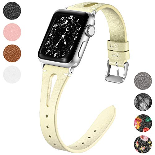 (Haveda Leather Band Compatible with Apple Watch Band 40mm 38mm, Genuine Leather Bands for iWatch, Apple 4 Watch Series 4 Series3/2/1, Women Slim Wristband Milk Yellow)