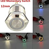 MONNY 12V 12mm Silver Momentary Push Button Switch 4Pin Multicolor Ring LED