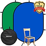 Hakutatz 5'x 7' Collapsible Reversible Chromakey Pop Out Muslin Blue Green Backdrop Background 2 in 1 Backdrop Panel Photography Photo Background Panel with Carrying Case