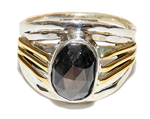 SunnyCrystals Two Tone Faceted Golden Sapphire Ring Sterling Silver Natural Gemstone Hand Crafted Crystal Jewelry Size 8 SAPR001