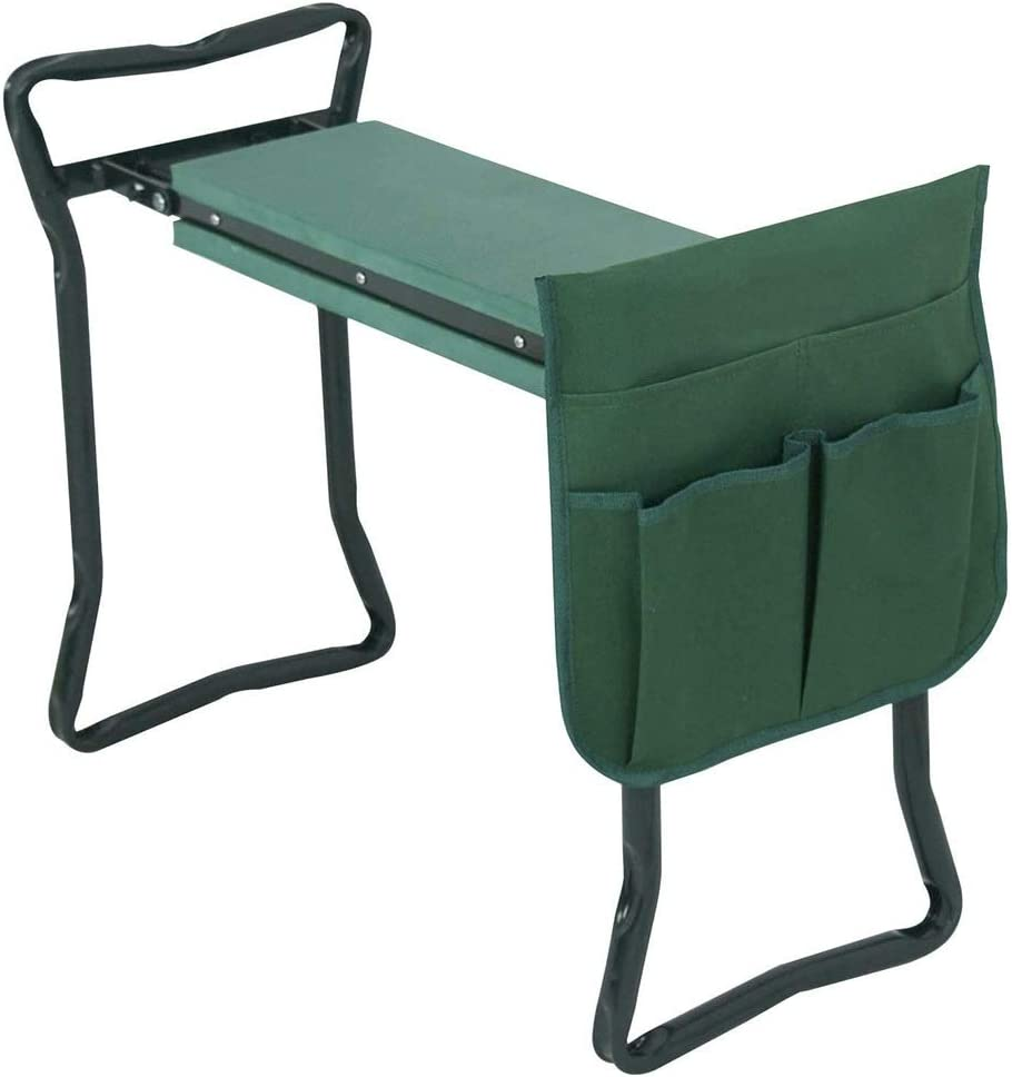 LRP 2 in 1 Garden Kneeler Seat, Foldable Steel Tube Pad Foam Seat Stool with Handles & Tool Bag for Outdoor Gardening & DIY Space Saving