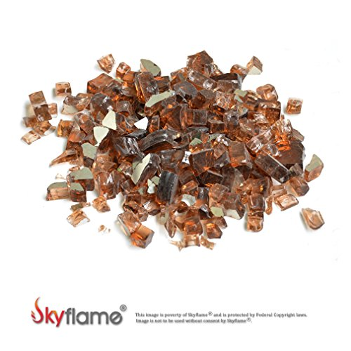 Skyflame High Luster 10-Pound Fire Glass for Fire Pit Fireplace Landscaping, 1/2-Inch Copper Reflective by Skyflame
