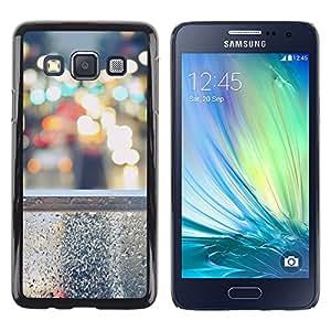 KLONGSHOP // Cubierta de piel con cierre a presión Shell trasero duro de goma Protección Caso - Steet Bokeh - Samsung Galaxy A3 //