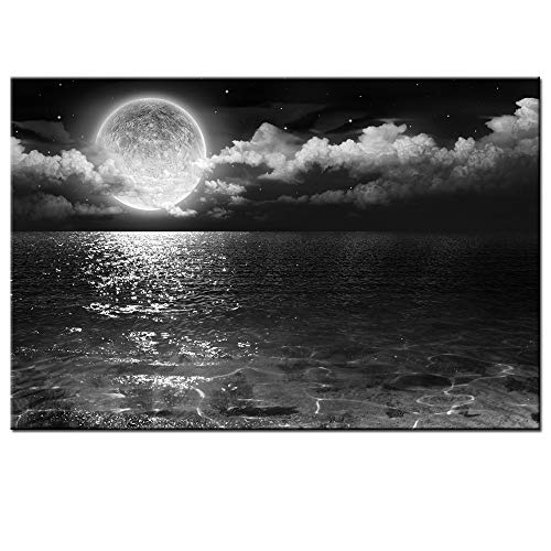 Black And White Photo Charm - Sea Charm - Black White Canvas Wall Art Large Full Moon in Cloud Landscape Picture Canvas Prints Frame Ocean Seascape Giclee Artwork (24