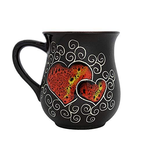 Pottery Coffee Mug Gift Idea «Red Heart» 10 fl oz (Pottery Mugs Beautiful)