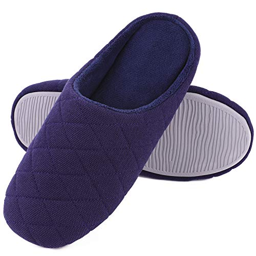 Mens Comfort Quilted Cotton Memory Foam House Slippers Slip On House Shoes (Large / 11-12 D(M) US, Navy Blue)