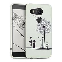 kwmobile TPU SILICONE CASE for LG Google Nexus 5X Design dandelion love black white - Stylish designer case made of premium soft TPU