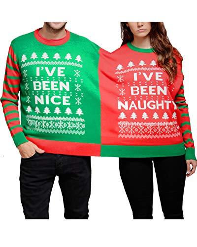 Couples Ugly Matching Christmas Xmas Tree Snowflake Striped Naughty-Nice Adult Holiday Pajama Set Shirt Sweaters L ()