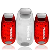 LED Safety Lights + Free Bonuses | Clip on Strobe Light High Visibility for Running Jogging Walking Cycling Best Reflective Gear for Kids Dogs Bicycle Helmet and Bike Tail Light (Red-White-Red)