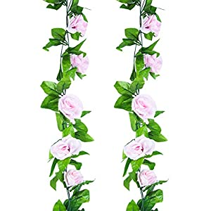Miracliy 2 Pack 15 FT Fake Rose Vine Flowers Plants Artificial Flower Home Hotel Office Wedding Party Garden Craft Art Décor, Pink 118