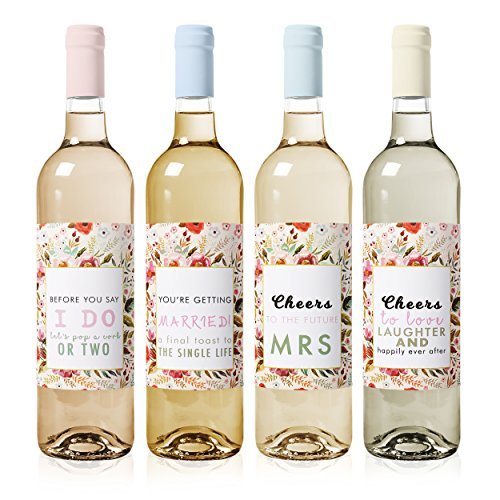 Bachelorette Party Decorations Wine Labels (4-Pack) - Waterproof and Easy to Apply – Perfect gift for Bridal Shower, Engagement Party, Wedding Shower, Bachelorette Party and Bride to Be (Peel Bachelorette)