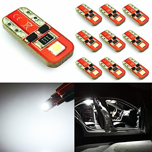 JDM ASTAR 10pcs Super Bright 194 168 175 2825 T10 GX-3020 Chipsets LED Bulbs,Xenon White (T10)