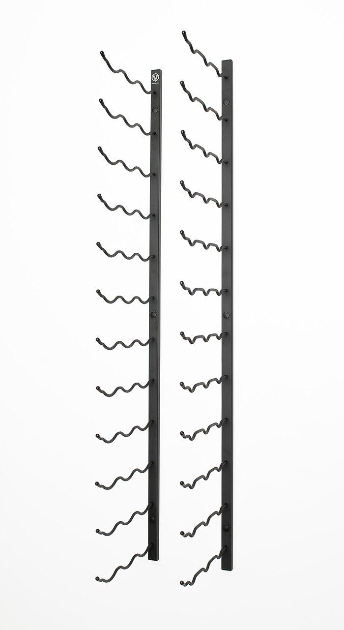 VintageView WS53 5-Foot 45 Bottle Metal Wall Mounted Wine Rack in Satin Black (3 Rows Deep) by VintageView