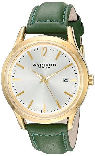 Akribos XXIV Women's Quartz Gold-Tone Case with Gold-Tone Accented Silver Sunray Dial on Green Glove Style Genuine Leather Strap Watch AK921GN