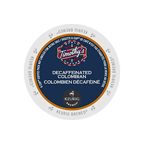 Timothy's World Coffee Decaf Colombian K-Cup Coffee, 24 Count (Pack of 2) (Packaging may vary)
