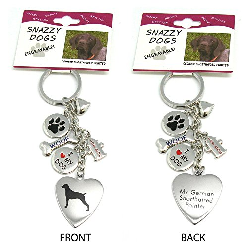German Shorthaired Pointer Keychain for Women, Girls, Boys, Men - Engraved Stainless Steel Dog Key Ring with Charms - Cute I Love My Dog Key Fob Gift - Cute Pet ()