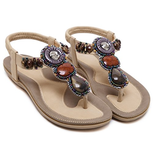 Chanclas Albaricoque Sandalias Occidental Zapatos Slingback TAOFFEN Mujer Bohemia 5vWc66