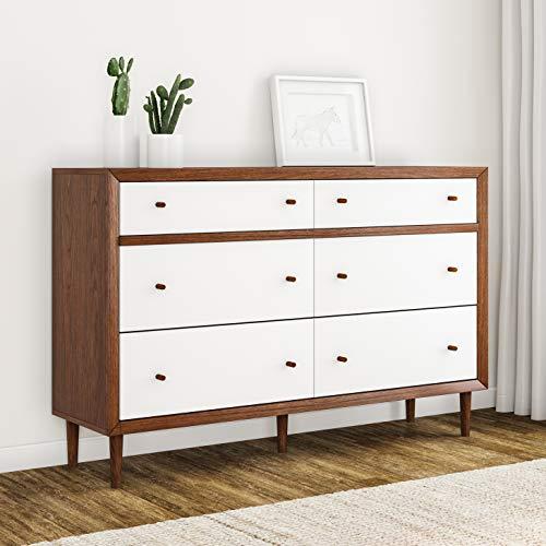 Carson Carrington Trollhattan Mid-Century Modern White and Walnut Wood 6-Drawer Storage Dresser