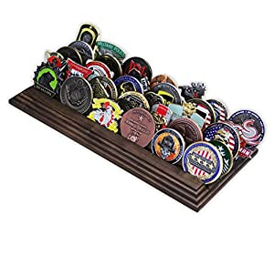 5 Row Challenge Coin Holder - Military Coin Display Stand - Amazing Military Challenge Coin Holder - Holds 30-36 Coins 5 Rows Made in The USA! (Solid Walnut) by Coins For Anything Inc