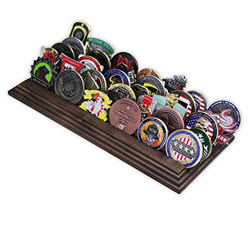 5 Row Challenge Coin Holder - Military Coin Display Stand - Amazing Military Challenge Coin Holder - Holds 30-36 Coins 5 Rows Made in The USA! (Solid Walnut)