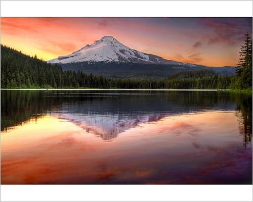 Photographic Print of Reflection of Mount Hood on Trillium Lake - Ski Sky Australia
