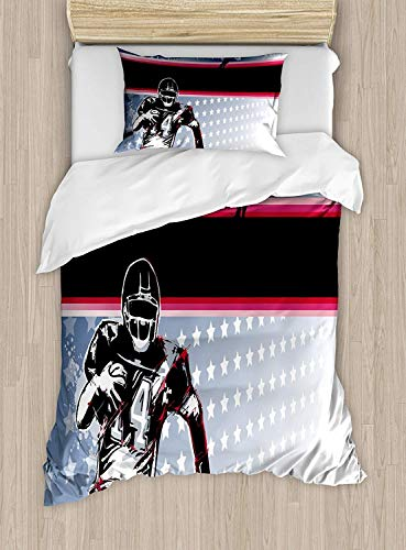 SINOVAL Americana Duvet Cover Set Twin Size, Baseball American Football Player Running in The Field with The Stars Pattern,Fashion 2 Piece Bedding Set with 1 Pillow Sham, Colorcolor