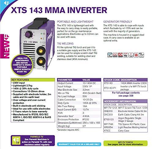 PARWELD XTS 142 140 Amp MMA Stick Welding Inverter 230v