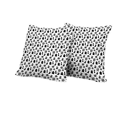 Wheelchair Cushion Cover Alien,Monochrome Monster Silhouettes Childish Drawings