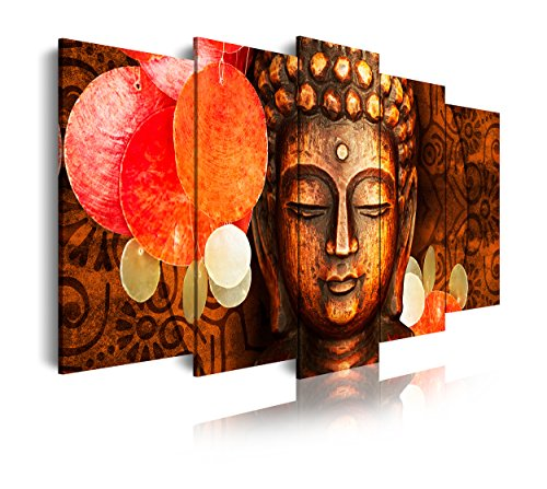 DekoArte 407 - Cuadros Modernos Impresion de Imagen Artistica Digitalizada   Lienzo Decorativo para Tu Salon o Dormitorio   Estilo Cara Buda Zen Tonos Bronces Relajacion   5 Piezas 150 x 80 cm