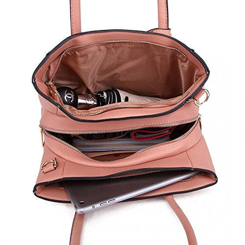 Office PU Inspired Designer Tote Pink Look Shoulder School Women Quality Leather Handbag E0qftwtOx