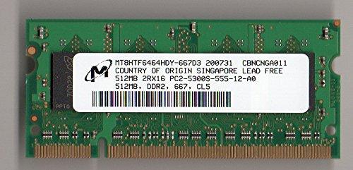Micron 512MB PC2-5300 DDR2-667MHz CL5 200-Pin SoDimm Memory Module Mfr P/N (512mb Ddr2 667mhz Memory)
