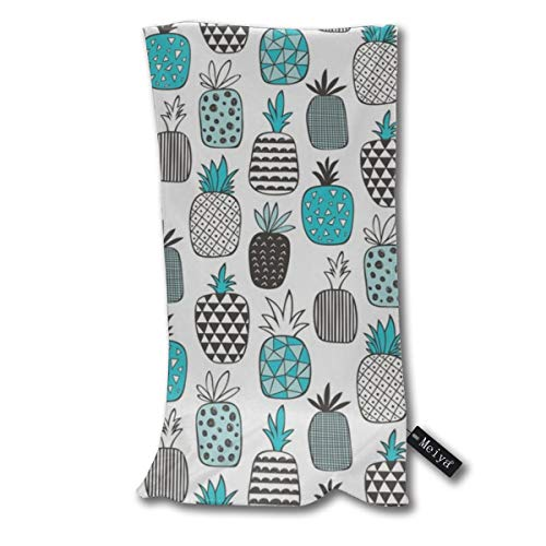 Pineapple Geometric In Aqua Blue_1167 Hand Towels Dishcloth Floral Linen Super Soft Extra Absorbent for Bath,Spa and Gym 12 X 27.5 inch