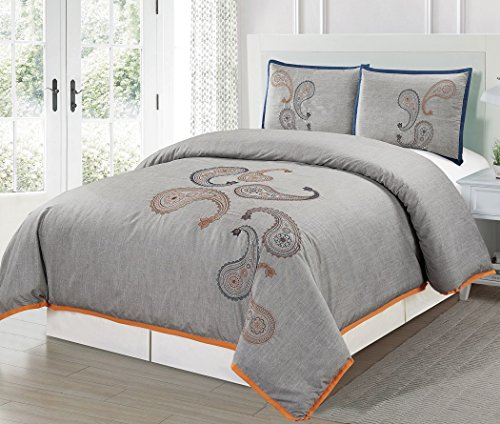 Chezmoi Collection Naomi Luxury 3-Piece Paisley Floral Embroidery Patterns Duvet Cover Set (King)