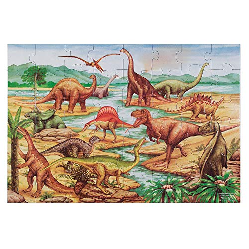 Melissa & Doug Dinosaurs Floor Puzzle (Extra-Thick Cardboard Construction, Beautiful Original Artwork, 48 Pieces, 2' x 3, Great Gift for Girls and Boys - Best for 3, 4, 5, and 6 Year Olds') (Animal That Has Been Extinct For 100 Years)