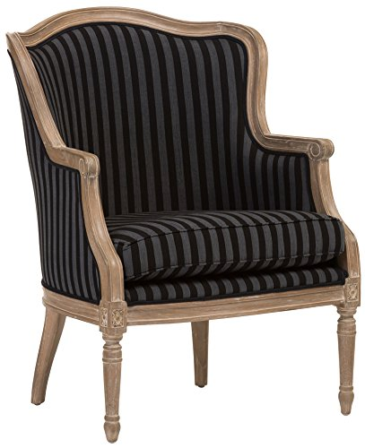 Baxton Studio Charlemagne Traditional French Black and Grey Striped Accent Chair
