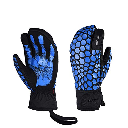 LANNIU Ski Gloves, Winter Glove Men Waterproof, 3-Finger Mittens Winter Warm Gloves with Touchscreen for Cold Winter Outdoor Sports