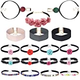 Tpocean 18 Pieces Multicolored Gothic Floral Tattoo Lace Choker Elegant Black Velvet Choker Necklace with Pink and Blue Rose Flowers Tassel Boho Collar Chokers Set for Women Girl