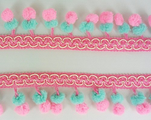 Double Bright Pink Emerald Green Mini Twin Pom Pom Mix Colors Fringe Lace Dangle Trim Braid Fluffy Bobble Ball Ruffle