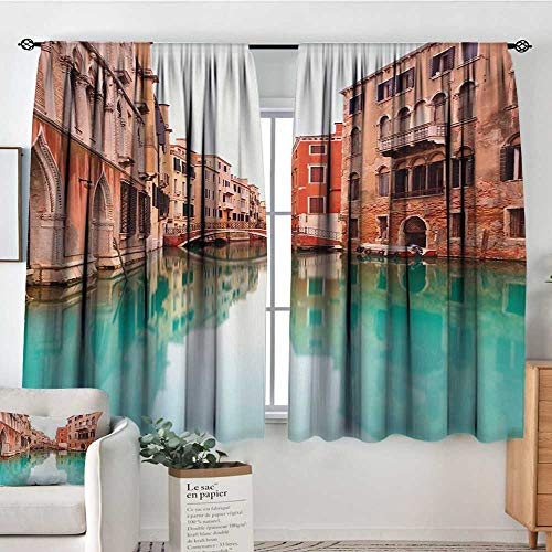 (Mozenou Venice Thermal Insulating Blackout Curtain Water Canal and Bridge Typical Venetian Architecture Buildings and a Boat Customized Curtains 72