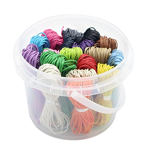 180yards 18 Colors 1mm Waxed Cotton Cord Jewelry Fashion DIY Cords ()