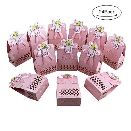 AerWo 24pcs Pink Baby Shower Treats Boxes, Paperboard Laser Cut Favor Box Gift Bag for Baby Shower Party Supplies Cute 1st Birthday Girl Decoration