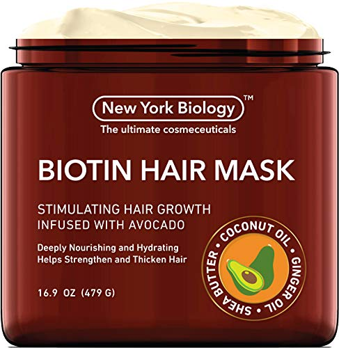 Biotin Hair Mask for Dry Damaged Hair - Infused with Avocado - 3X Deeper Conditioning than Hair Growth Conditioner - Helps Restore Hair, Improve Hair Loss and Ease Frizz - 16 Oz