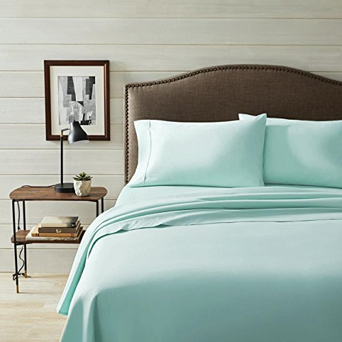 Better Homes & Gardens Organic 300 Thread Count Organic Sheet Set (Teal Cloud, Queen) from BHG