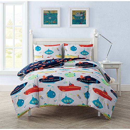 2 Piece Underwater Submarines Design Reversible Comforter Set Twin Size, Printed Vibrant Ocean Boats Bedding, Sea Creature Animals Jellyfish Fishes Octopus Themed, Fun Kids Bedroom, Turquoise, Navy by SE