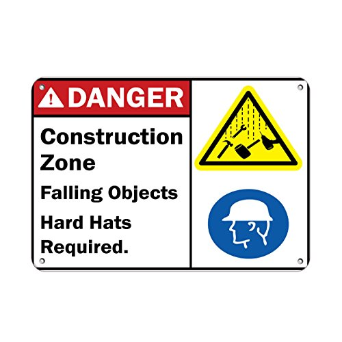 Danger Construction Zone Falling Objects Hard Hats Required Aluminum METAL Sign 10 in x 14 in from Fastasticdeals