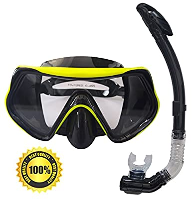 Mask and Snorkel Set for Adults - Anti-Fog Glass, Purge Valve, Snorkeling Splash Cap